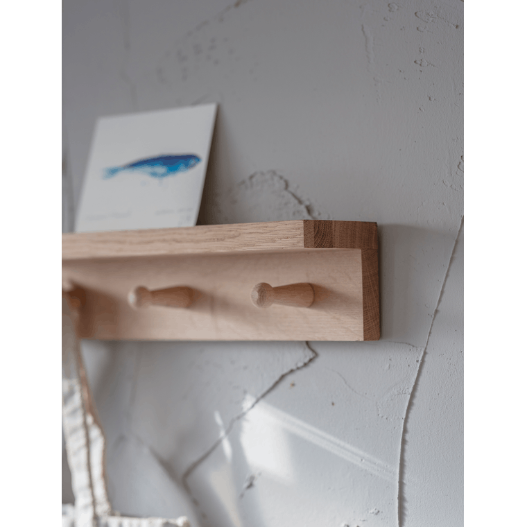 Raw Oak Hambledon Peg Shelf in Small or Large | Garden Trading