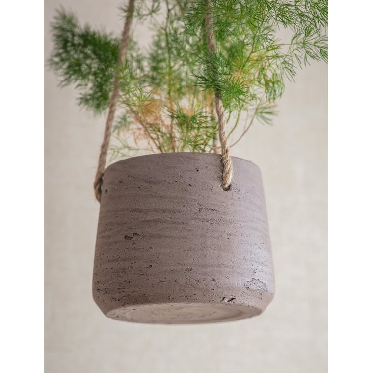 Small Cement Hanging Pot, Small in Black or Natural | Garden Trading