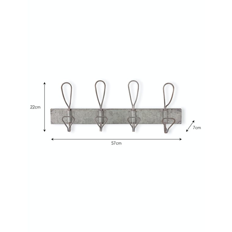Galvanised Antique Hook Rail | Garden Trading