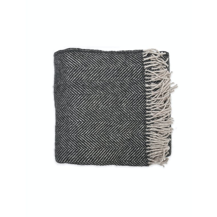 Wool Tweedmill Throw in Grey or Orange | Garden Trading