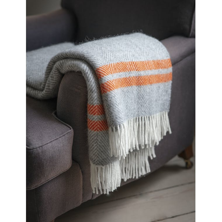 Garden Trading Tweedmill Throw in Grey & Orange