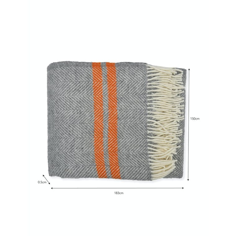 Wood Tweedmill Throw in Grey or Orange | Garden Trading