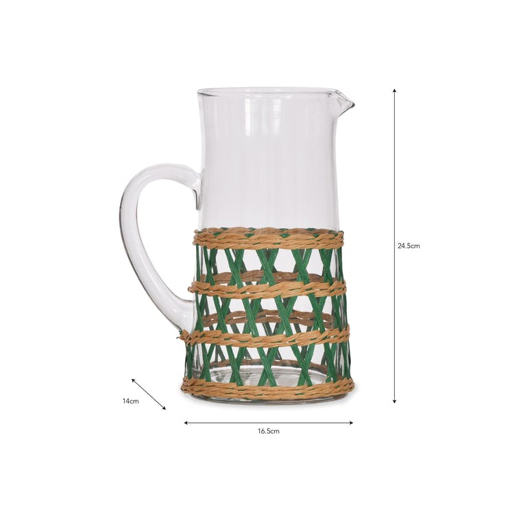 Glass Portmore Jug with Green Rattan | Garden Trading