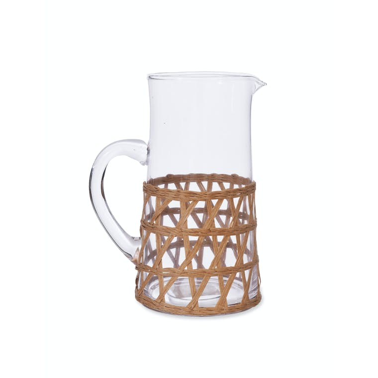 Glass Portmore Jug with Natural Rattan | Garden Trading