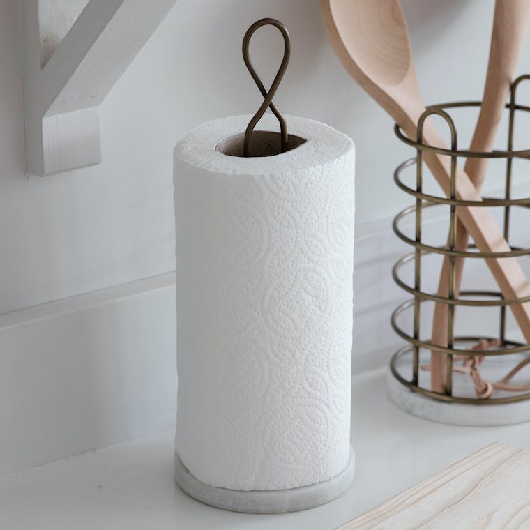 Wirework and Marble Brompton Kitchen Roll Holder | Garden Trading