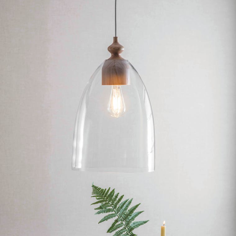 Wooden Bloomsbury Pendant Light in Small or Large