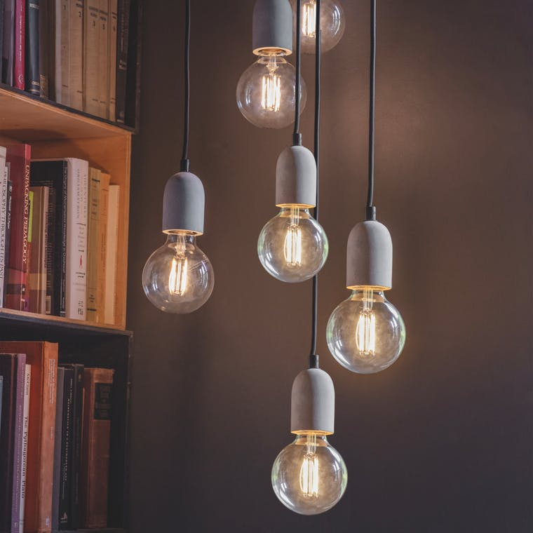Concrete Carnaby Pendant Light in 3 or 6 Bulbs | Garden Trading