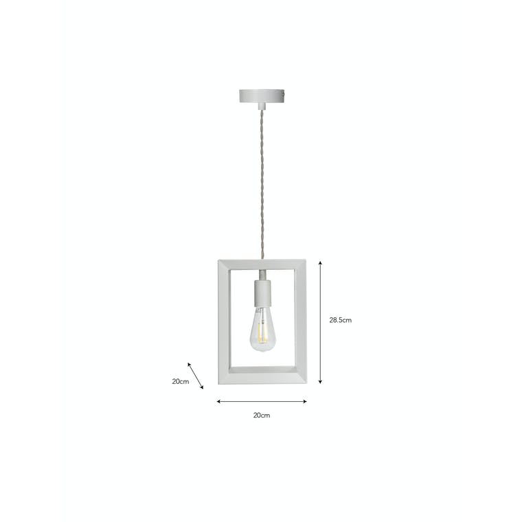 Steel Brunswick Indoor Single Pendant Light in White | Garden Trading