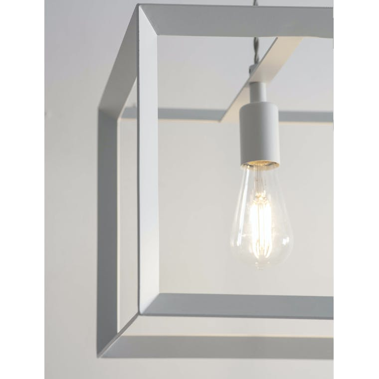 Steel Brunswick Trio Indoor Pendant Light in White | Garden Trading