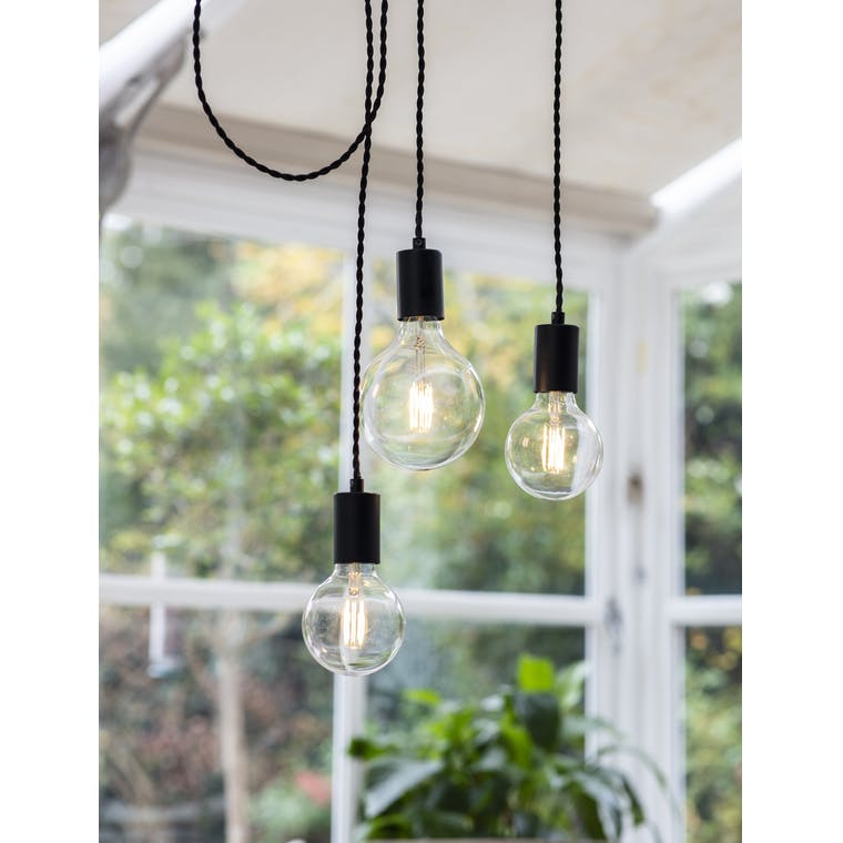 Soho 3 Light Pendant in Black - Steel | Garden Trading