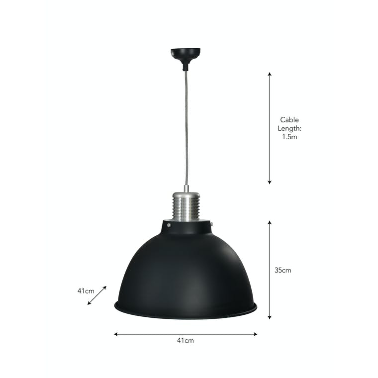 Large Meriden Indoor Pendant Light in Black | Garden Trading