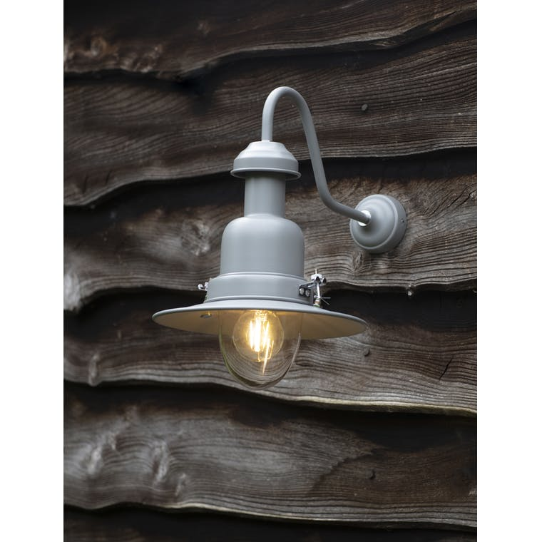 Wall Mounted Outdoor Fishing Lamp in Grey | Garden Trading