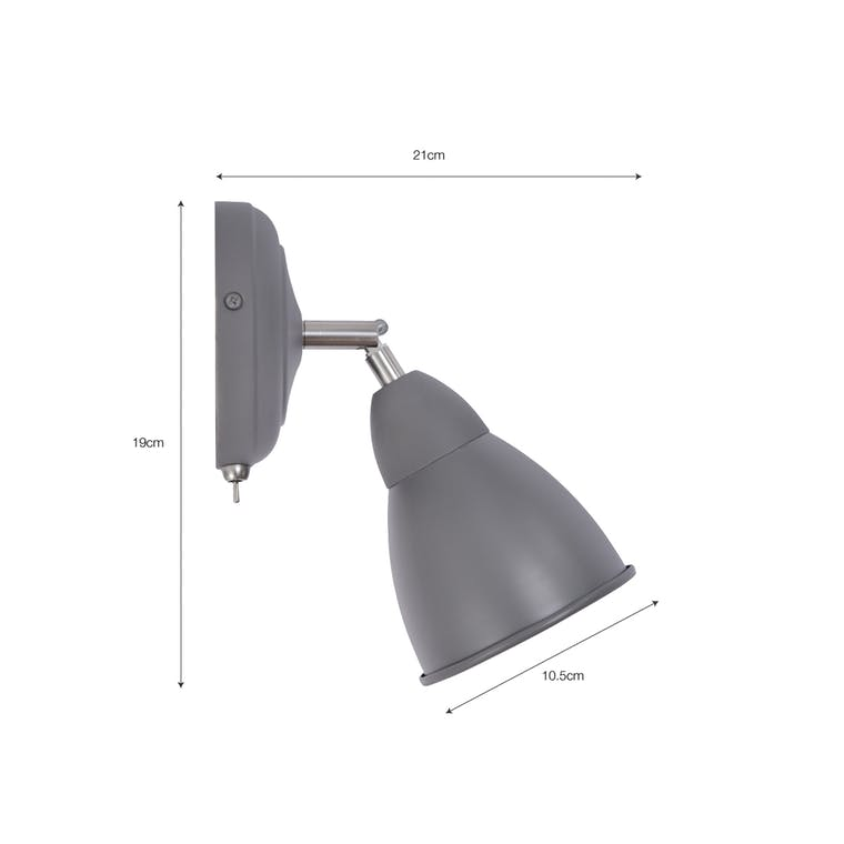 Steel Chiswick Wall Light in Grey, Black or White | Garden Trading