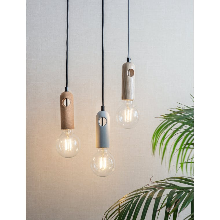 Danvers Pendant Light in Cork, Ash or Concrete | Garden Trading
