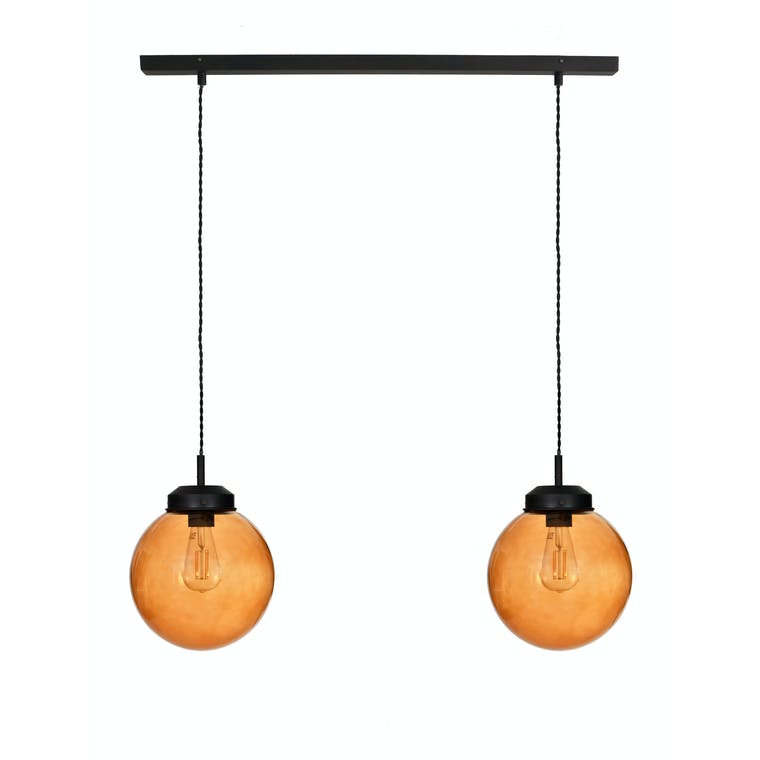 Glass Dulwich Double Pendant Light in Grey or Brown | Garden Trading