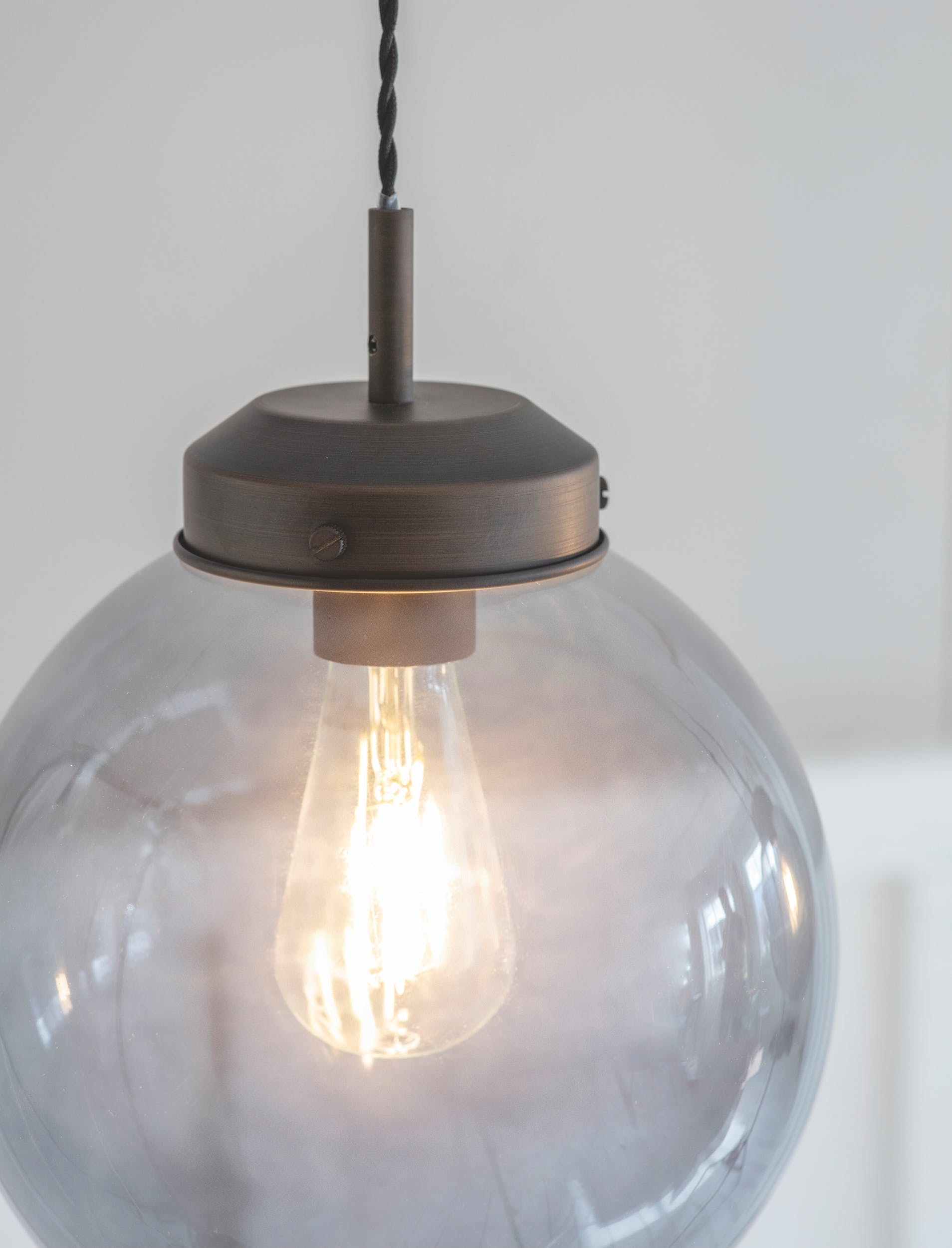 Glass Dulwich Pendant Light in Grey or Brown   Garden Trading