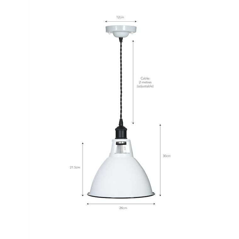 Enamel and Steel Albion Domed Indoor Pendant Light in White and Black | Garden Trading