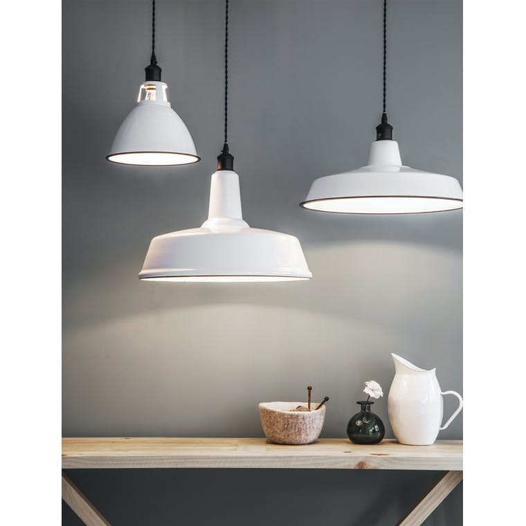 Enamel and Steel Albion Wide Indoor Pendant Light in White and Black | Garden Trading