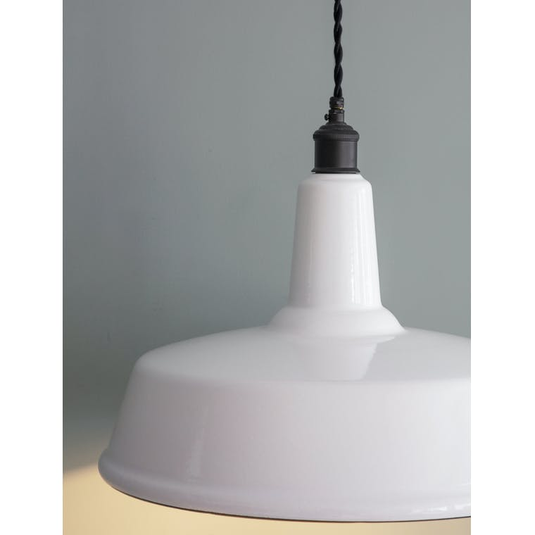 Enamel and Steel Albion Tall Indoor Pendant Light in White and Black | Garden Trading