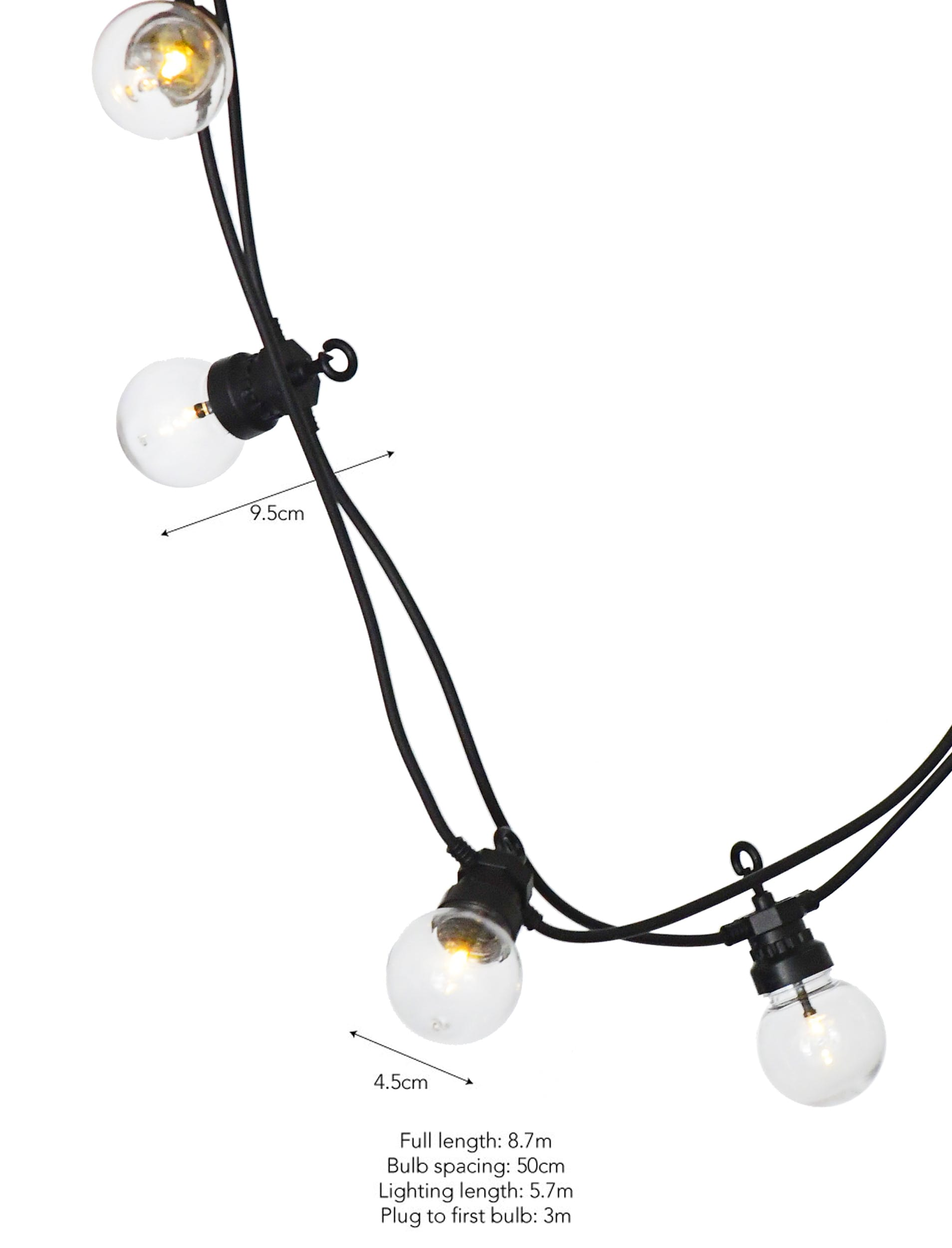 Golf Ball Festoon Lights in 20 Bulbs | Garden Trading