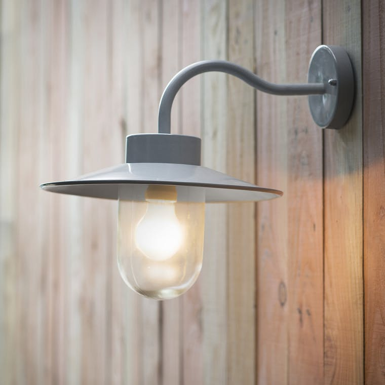 Swan Neck Outdoor Wall Light in Silver, Grey or Black  | Garden Trading