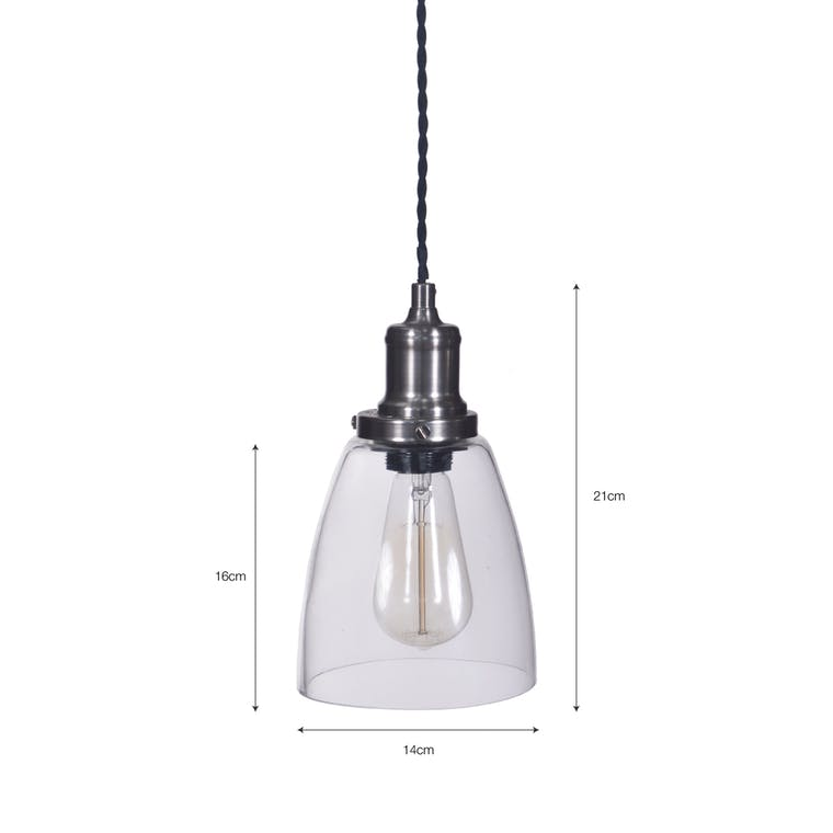 Hoxton Domed Indoor Pendant Light in Silver | Garden Trading