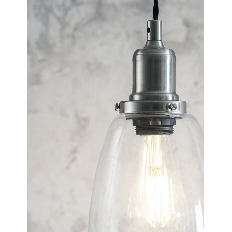 Steel Hoxton Domed Pendant Light in Silver or Bronze | Garden Trading