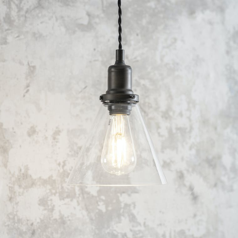 Steel Hoxton Cone Pendant Light in Silver or Bronze | Garden Trading