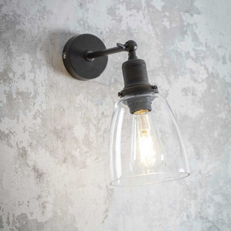 Steel Hoxton Wall Light in Silver or Bronze | Garden Trading