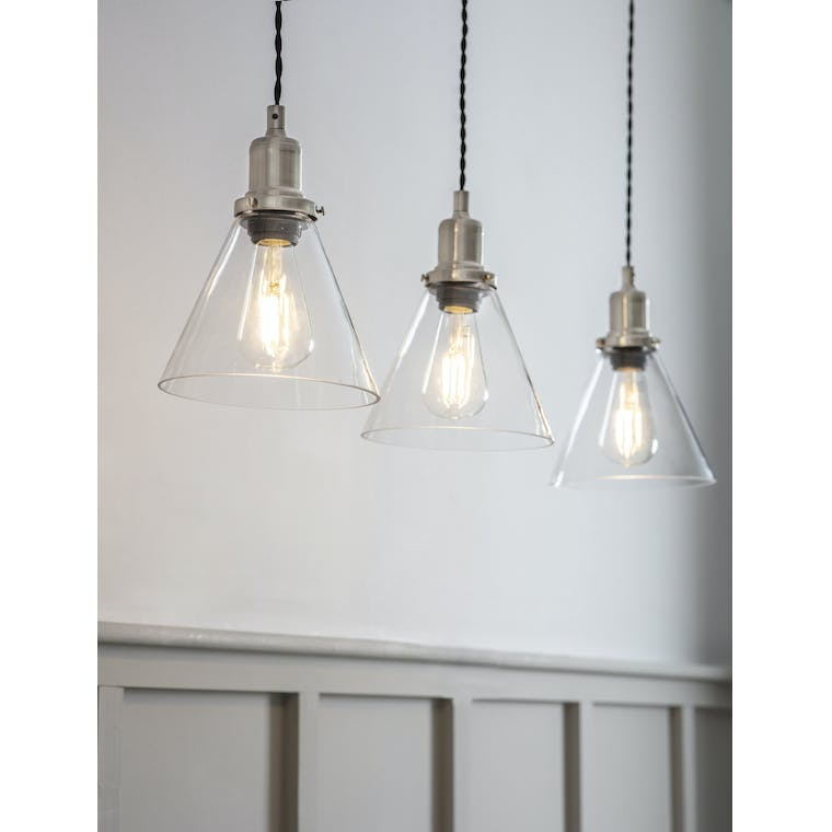 Garden Trading Trio of Hoxton Cone Pendant Light in Satin Nickel