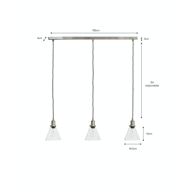 Steel Hoxton Trio Pendant Light in Silver or Bronze | Garden Trading