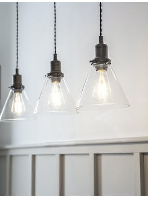 Trio of Hoxton Cone Pendant Light