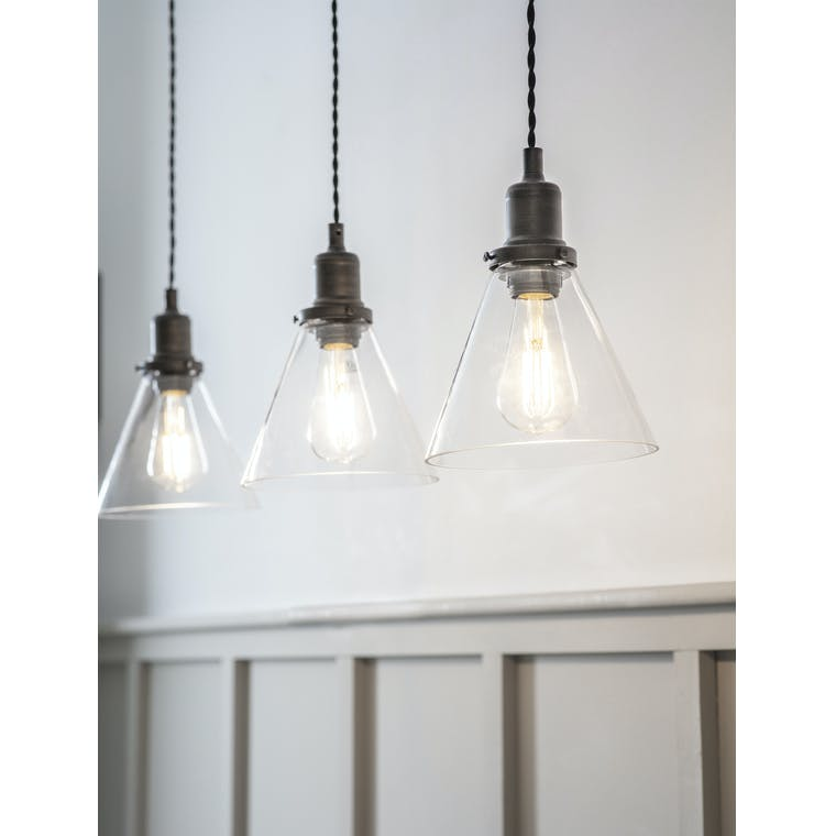 Garden Trading Trio of Hoxton Cone Pendant Light in Antique Bronze