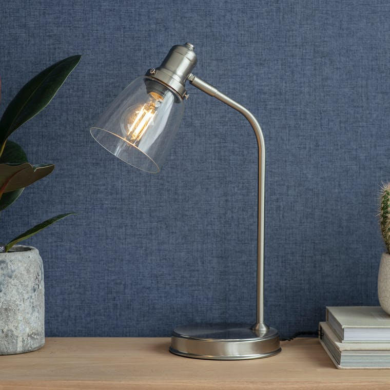 Hoxton Dome Table Lamp in Bronze or Satin Nickel | Garden Trading