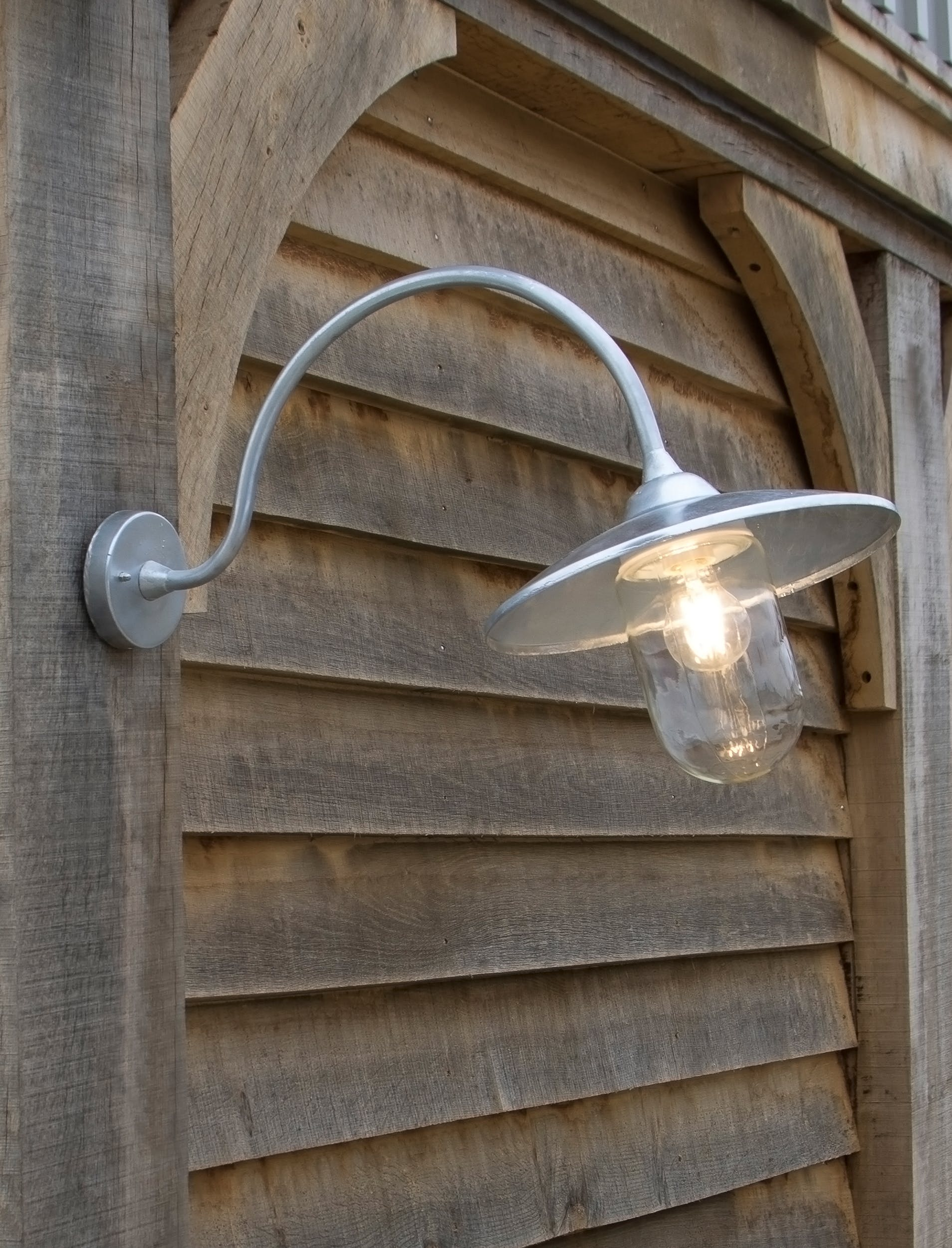 Arched Swan Neck Light in Silver   Garden Trading