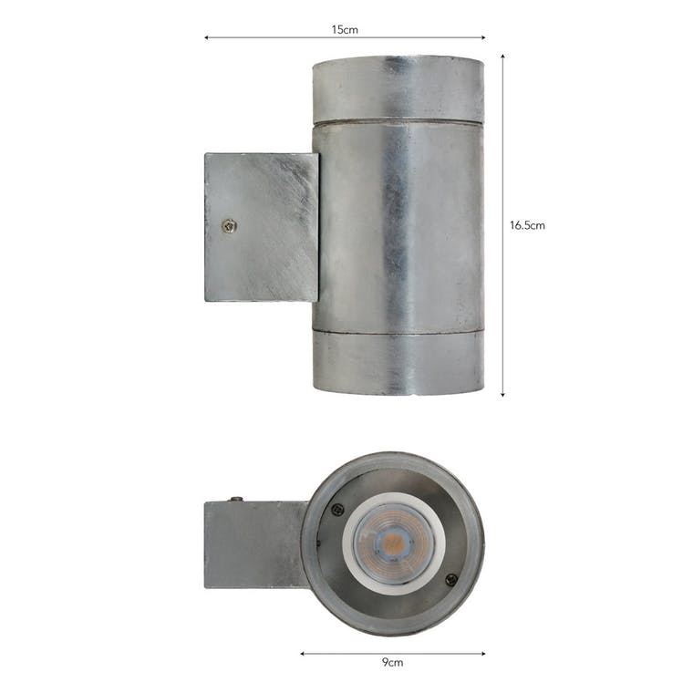 Hot Dipped Galvanised Steel St Ives Up and Down Light in Small or Large  | Garden Trading