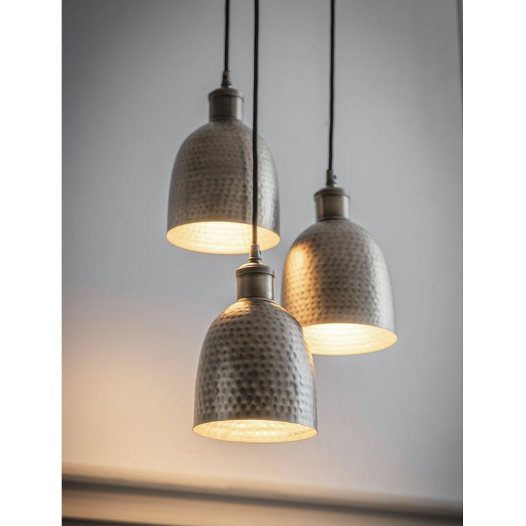 Garden Trading Trio of Kielder Cluster Pendant Light in Antique Brass - Steel
