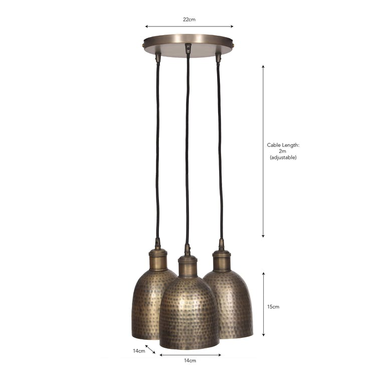 Brass Trio of Kielder Cluster Pendant Light | Garden Trading
