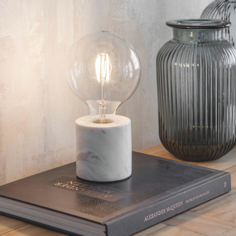 Marble Lansdowne Table Lamp in Black or White | Garden Trading