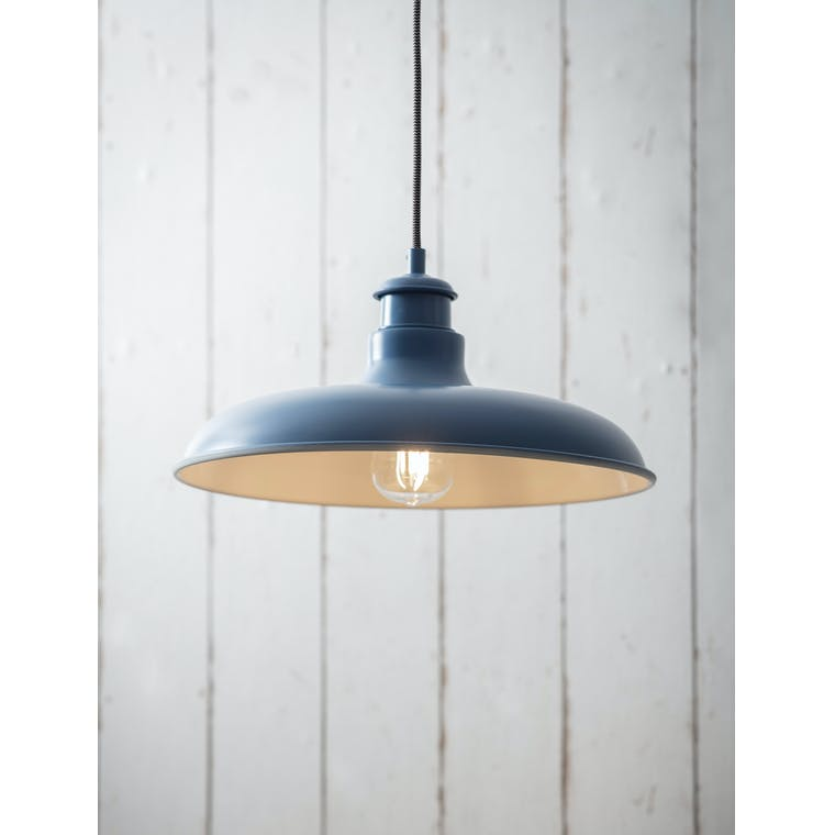 Garden Trading Toulon Pendant Light in Lulworth Blue - Steel