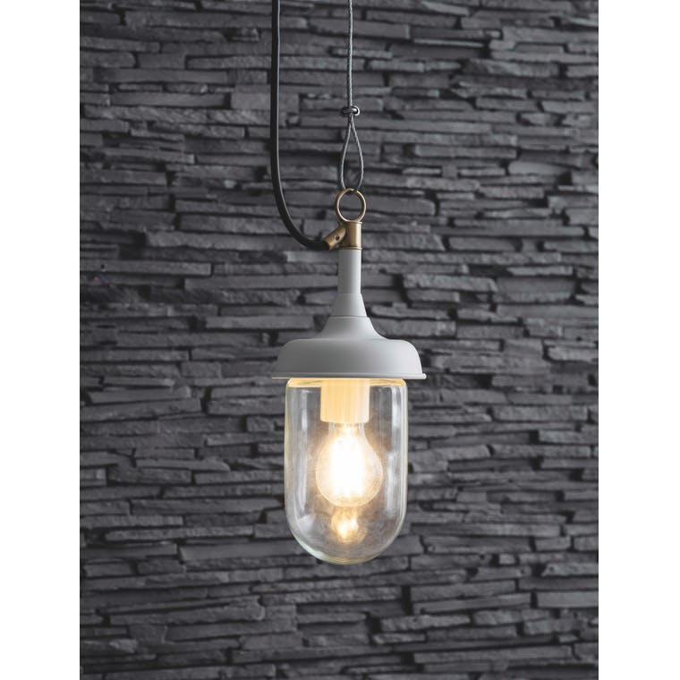 Garden Trading Harbour Outdoor Pendant Light in Lily White - Steel