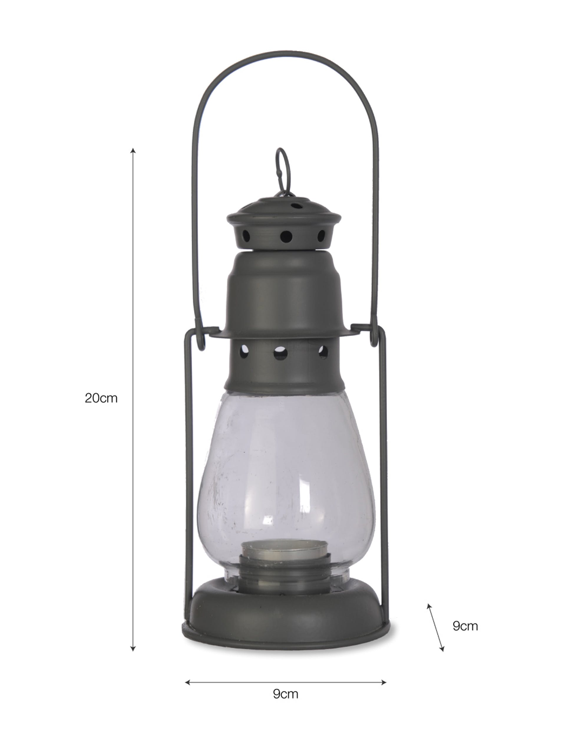 Steel Miners Lantern in Grey in Small or Large   Garden Trading