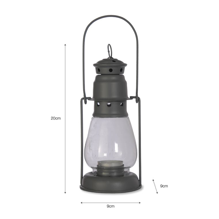 Steel Miners Lantern in Grey in Small or Large | Garden Trading