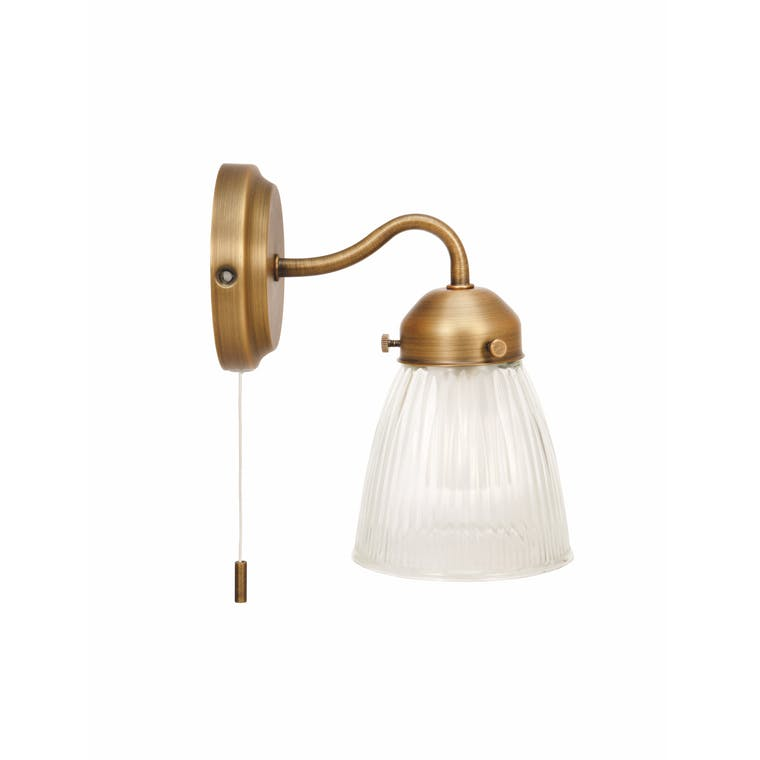Glass Pimlico Bathroom Wall Light in Silver or Brass  | Garden Trading