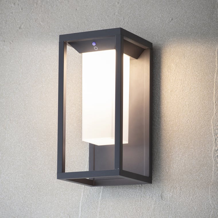 Outdoor Northwick Solar Wall Light in Grey | Garden Trading