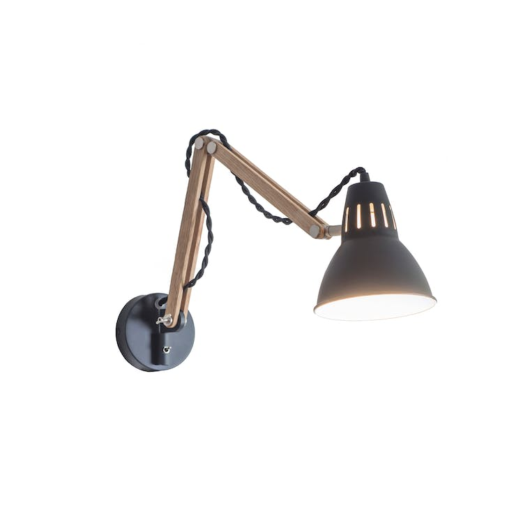 Oak Large Bermondsey Wall Light in Black | Garden Trading
