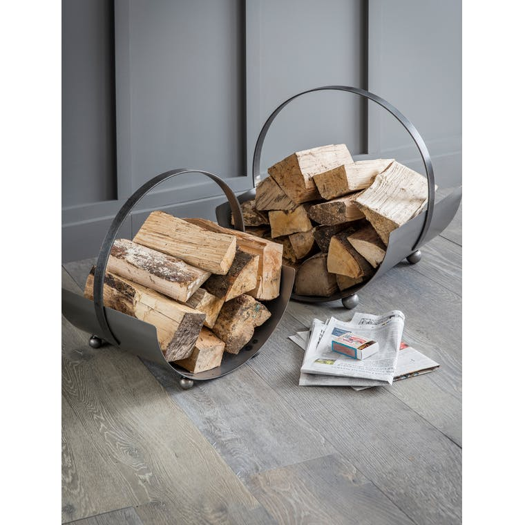 Metal Lodge Round Log Carrier in Small  | Garden Trading
