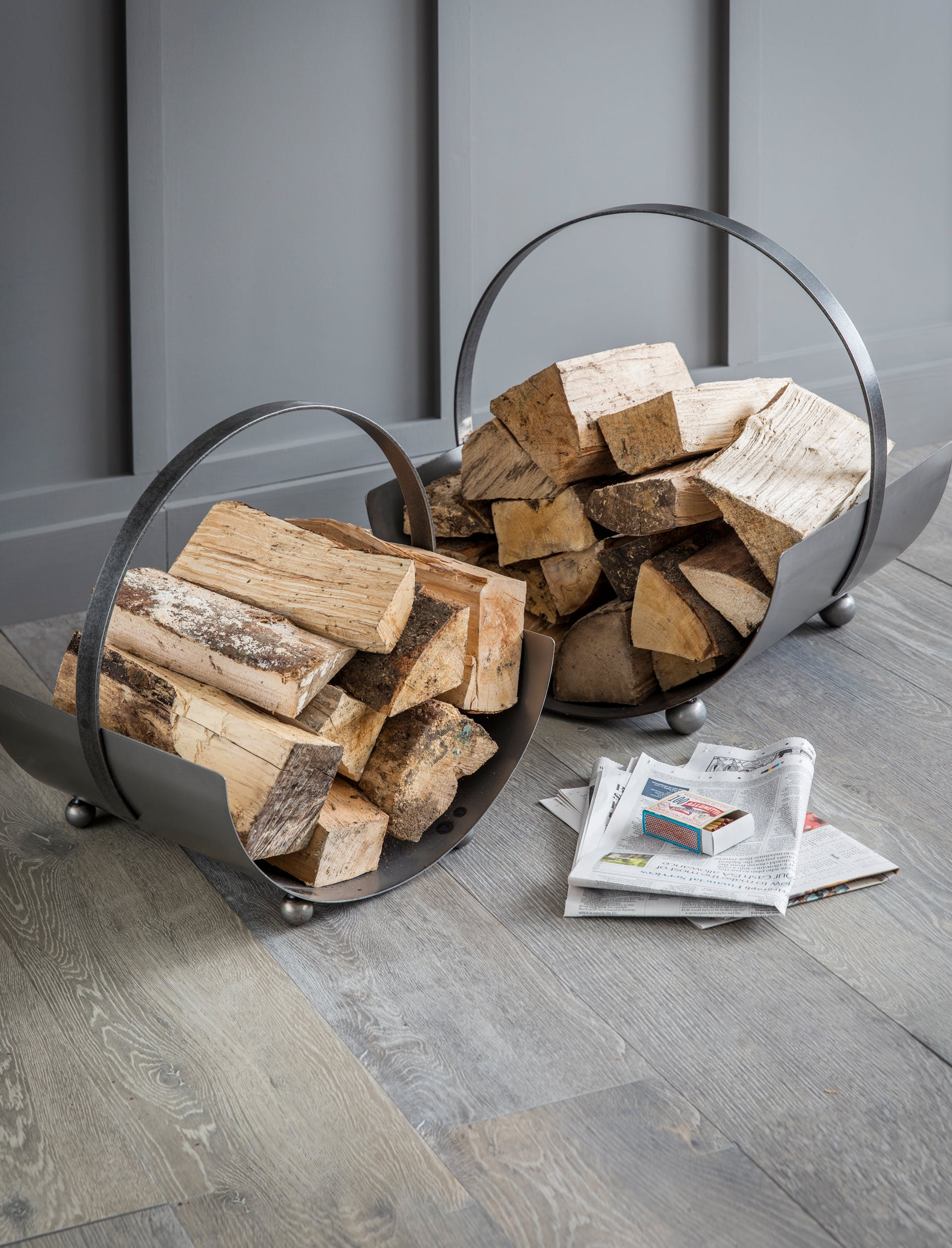 Metal Lodge Round Log Carrier in Small or Large | Garden Trading