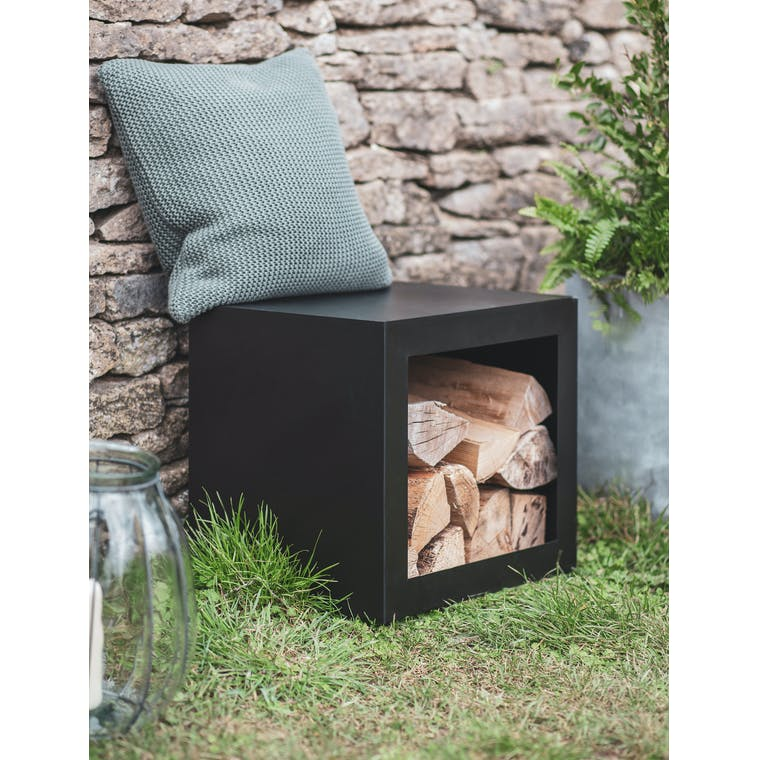 Stool with Log Holder by Garden Trading