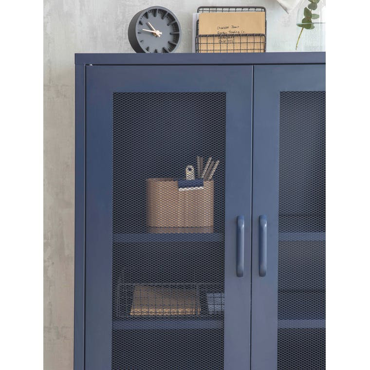 Metal Marlborough Cabinet in Dark Blue | Garden Trading